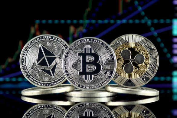 bitcoin, xr and ethereum coins visualized